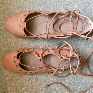 Nude/pink lace up ballerina flats with gold studs